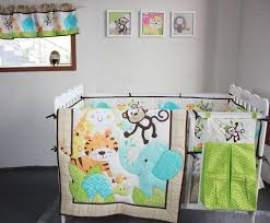 new happy jungle animals friends baby bedding set crib set bed kit applique quilt per fitted sheet skirt window curtain bedspread for kids kids comforter