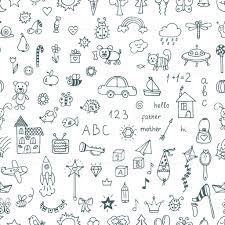 かわいい手描きのお子様のシームレスなパターンの図面ます落書き