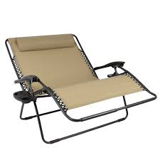best choice s 2 person double wide folding zero gravity chair patio lounger w cup holders beige com