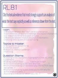 Common Core Standards Anchor Charts 8th Grade Ela Anchor Charts Literature Informational Common Corestandards