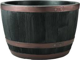 small image of blenheim black oak copper effect half barrel planter 61cm