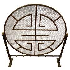 midcentury modern mandala motif fireplace screen