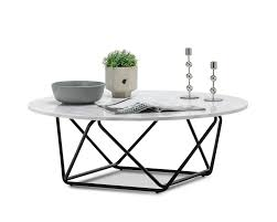 The signature round coffee table is classy and will improve the way your room looks. Aria White Marble Round Coffee Table Black Base