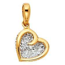 14k gold small mini heart pendant 9mm x 9mm charm two tone nzgspf983 other fine necklaces pendants