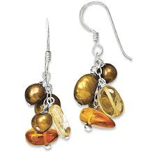 icecarats 925 sterling silver amber citrine copper freshwater cultured pearl drop dangle chandelier earrings