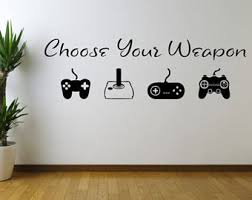astonishing game room wall art home decor etsy choose your weapon vinyl decal sticker ideas for video on game room wall art ideas with astonishing game room wall art home decor etsy choose your weapon