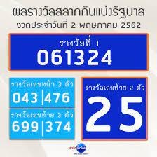 ผลรางวัลสลากกินแบ่งรัฐบาล งวดประจำวันที่ 2 พฤษภาคม 2562 - สำนักข่าวไทย อสมท