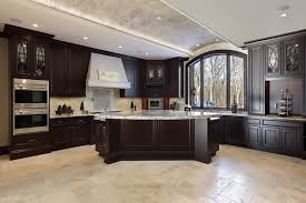 white cabinets dark tile floors.  Floors Large Dream Kitchen With Dark Wood Cabinets And White Granite Countertop  Island In Custom Home Intended White Cabinets Dark Tile Floors