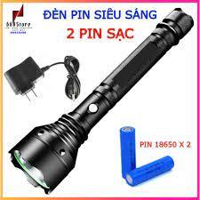 Đèn pin siêu sáng, Led T6 tiết kiệm năng lượng, tặng kèm 2 pin 18650 - Đèn  pin Nhà sản xuất No brand