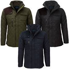 Winter Quilted Coats & Jackets for Men | eBay & James Darby Mens Slim Fit Padded Diamond Quilted Cord Patch Winter Jacket  Coat Adamdwight.com