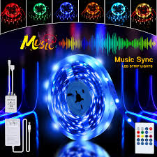Led Mood Light Strips Led Strip Lights 16 4ft Led Music Sync Color Rope Lights With Rgb 5050 Leds Color Changing Kit 24key Remote Control And 12v Power Supply Mood Light