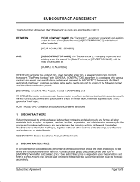 Sample Subcontractor Agreement Free Subcontractor Agreement Template Australia emsec 2