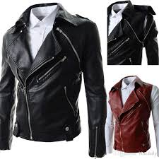 brand black pu leather jacket men new fashion design mens motorcycle biker jacket leather jacket for men fleece leather jacket fluffy denim jacket from