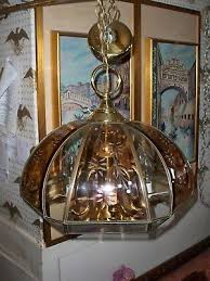vintage fredrick ramond brass chandelier w etched smoked beveled glass panels