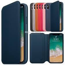 have logo original official leather folio case smart flip wallet cover card slot auto sleep function for apple iphone xs max x retail box