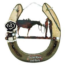 on horseshoe wall art star with to the moon and back horseshoe wall art
