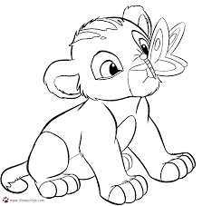 baby lion and butterfly coloring pages for kids to print | Free ...