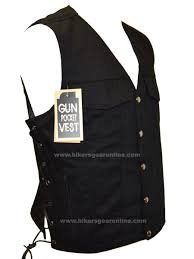 mens black denim motorcycle club vest