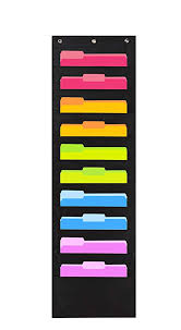 Hanging Pocket Chart Heavy Duty Storage Pocket Chart With 10 Pockets 3 Over Door Hangers Included Hanging Wall File Organizer By Hippo Creation Organize Your