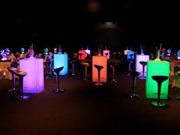 Multi-colored, Lighted, Cocktail Tables ( hi-boy ) for parties and
