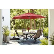Hampton Bay 11 Ft Led Round Offset Outdoor Patio Umbrella In Chili Red Yjaf052 The Home Depot