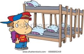Cartoon Boy Looking Bunk Beds Summer Stock Vector 2018 698685349