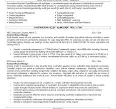 Project Management Internship Resume Sample Construction Platformeco