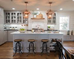 White And Gray Kitchen White And Gray Kitchen Copper Light Fixtures White Washed