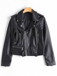 best asymmetric zipper faux leather biker jacket black s