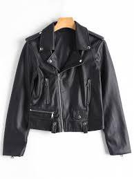 asymmetric zipper faux leather biker jacket black s