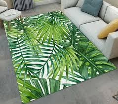 anti slip area rug floor mat green palm leaf carpet for living room bedroom home