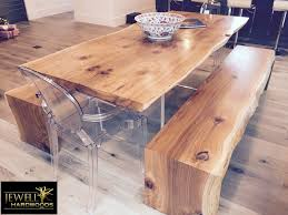 live edge cedar dining table with plexi glass base matching waterfall benches contemporary