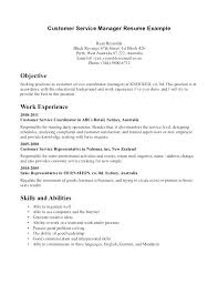 Good Objective For Customer Service Resume Career Objective Customer Service Manager For Resume A Sample In