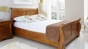Bedroom: Superior Sled Bed Frame Louie Wooden Sleigh Oak Finish ...