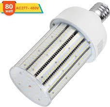 480v Lighting 480v 80w Led Corn Light Bulb 347v 250watt Equivalent Cob Light 11600lm E39 Mogul Base 6000k Daylight Cfl Hid Hps Mh Replacement For Parking Lot Gas