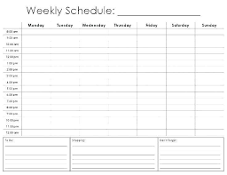 Free Weekly Schedule Template Excel Free Weekly Schedule Template Mytv Pw