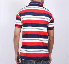 red and white stripe polo t shirt for men p20