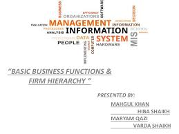 Basic Business Functions Firm Hierarchy