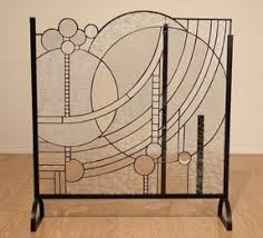 art deco modern furniture. mary lu winger stained glass fireplace screen modern art deco furniture