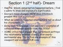 Dream Quotes From Of Mice And Men Best Of Of Mice And Men' Revision Ppt Video Online Download