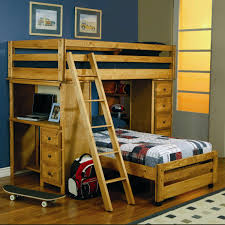 kids loft bed with desk. Amazing Bedroom For Kids With Blue Wall Added Brown Floor And Loft Bed Desk