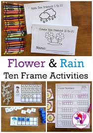flower rain themed ten frame printables no prep hands on