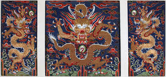 late ming embroidered panel featuring dragons circa 1600