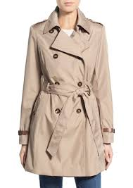 via spiga faux leather trim trench coat