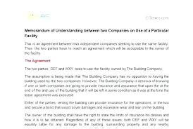 Business Memorandum Of Understanding Template Alanhall Co