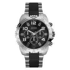 silicone rubber band men s guess wristwatches new guess watch for men chronograph black silver band tachymeter u0598g3