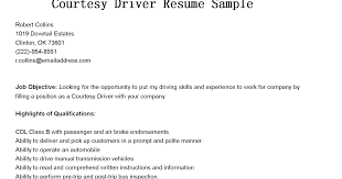 Driver Resume Extraordinary Driver Resumes Courtesy Driver Resume Sample
