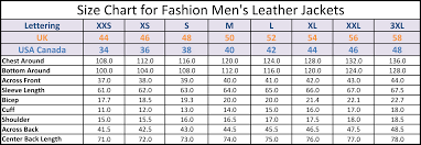 Leather Jacket Size Chart Mens Fashion Leather Jacket Mflj 789221525