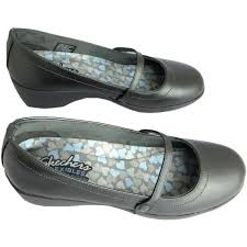 skechers dress shoes womens. women flat shoes staple women\u0027s silver pewter memory foam mary jane wedge 4169854, skechers dress womens