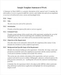 Work Statement Examples 9 Work Statement Examples Samples Examples